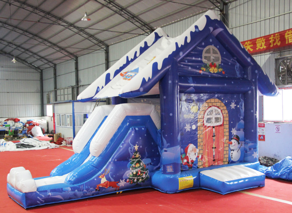 Hot sale Christmas inflatable bounce house with slide