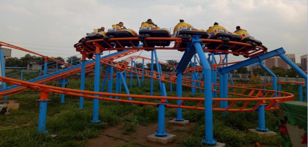 funfair and indoor roller coaster