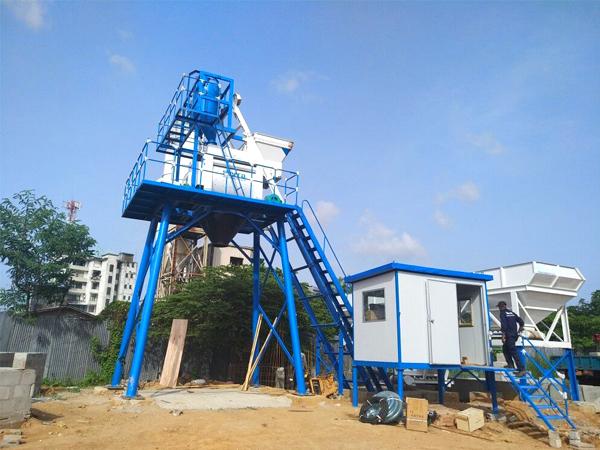 HZS50 automatic concrete batching plant